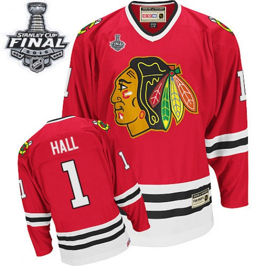 Glenn Hall Chicago Blackhawks Men's CCM Authentic Red Throwback 2015 Stanley Cup Patch Jersey