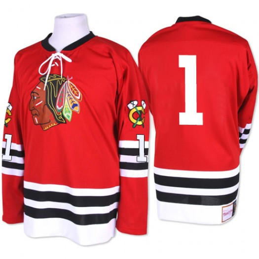 Glenn Hall Chicago Blackhawks Men's Mitchell and Ness Authentic Red 1960-61 Throwback Jersey