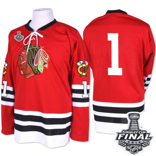 Glenn Hall Chicago Blackhawks Men's Mitchell and Ness Premier Red 1960-61 Throwback 2015 Stanley Cup Patch Jersey