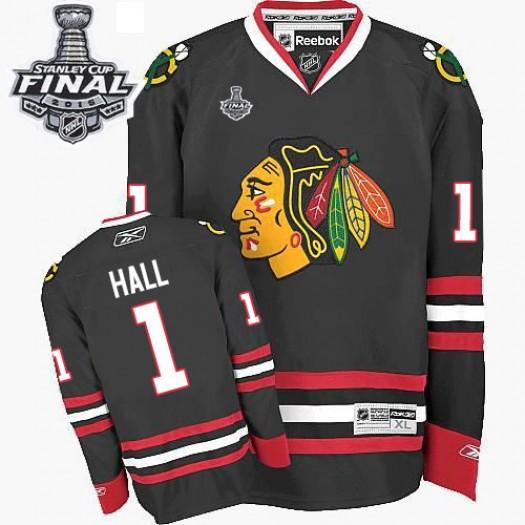 Glenn Hall Chicago Blackhawks Men's Reebok Authentic Black Third 2015 Stanley Cup Patch Jersey
