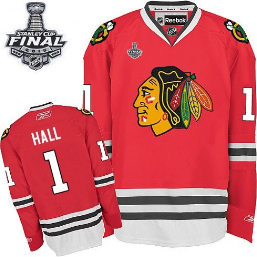 Glenn Hall Chicago Blackhawks Men's Reebok Authentic Red Home 2015 Stanley Cup Patch Jersey