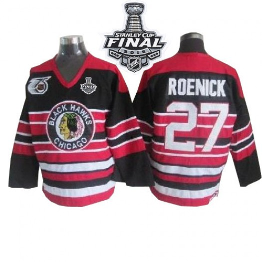 Jeremy Roenick Chicago Blackhawks Men's CCM Authentic Red/Black 75TH Patch Throwback 2015 Stanley Cup Patch Jersey