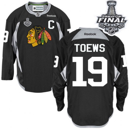 Jonathan Toews Chicago Blackhawks Men's Reebok Authentic Black Practice 2015 Stanley Cup Patch Jersey