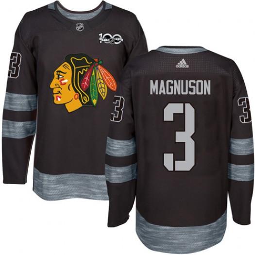 Keith Magnuson Chicago Blackhawks Men's Adidas Premier Black 1917-2017 100th Anniversary Jersey