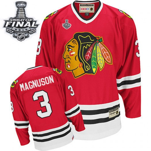Keith Magnuson Chicago Blackhawks Men's CCM Authentic Red Throwback 2015 Stanley Cup Patch Jersey