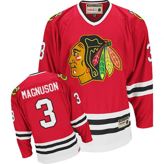 Keith Magnuson Chicago Blackhawks Men's CCM Authentic Red Throwback Jersey