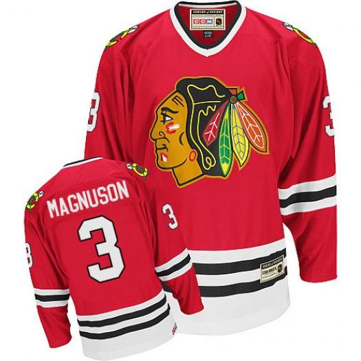 Keith Magnuson Chicago Blackhawks Men's CCM Premier Red Throwback Jersey