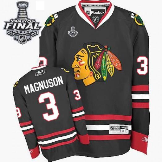 Keith Magnuson Chicago Blackhawks Men's Reebok Authentic Black Third 2015 Stanley Cup Patch Jersey