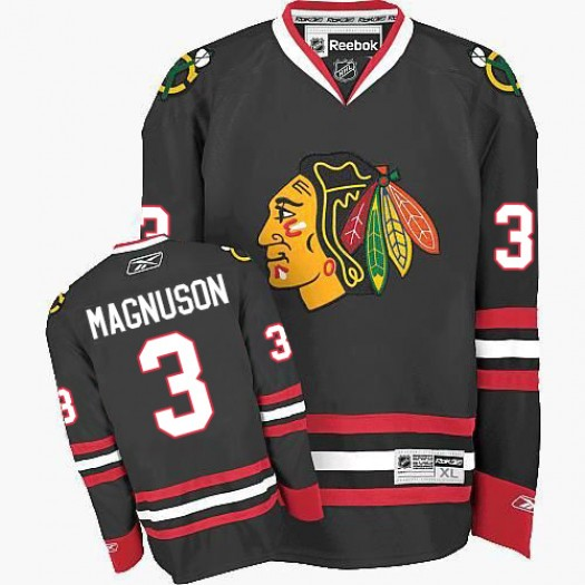 Keith Magnuson Chicago Blackhawks Men's Reebok Authentic Black Third Jersey
