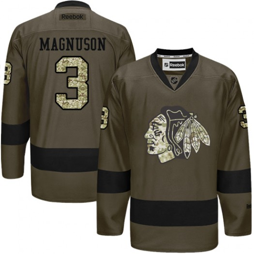 Keith Magnuson Chicago Blackhawks Men's Reebok Authentic Green Salute to Service Jersey