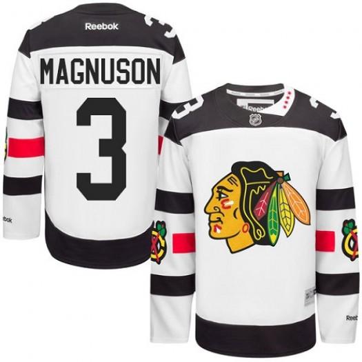 Keith Magnuson Chicago Blackhawks Men's Reebok Authentic White 2016 Stadium Series Jersey