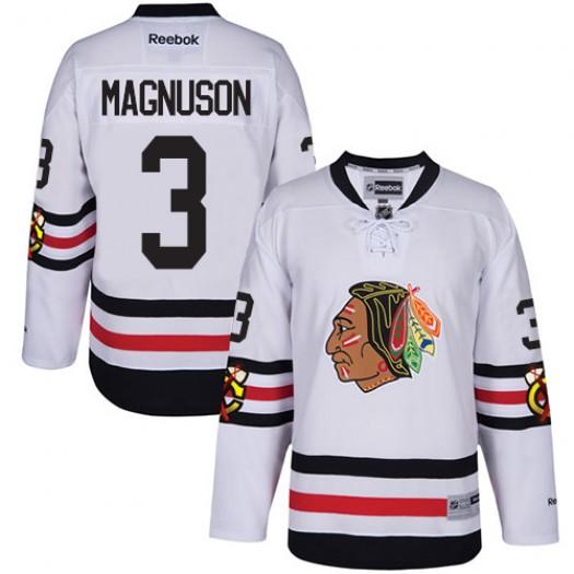 Keith Magnuson Chicago Blackhawks Men's Reebok Authentic White 2017 Winter Classic Jersey