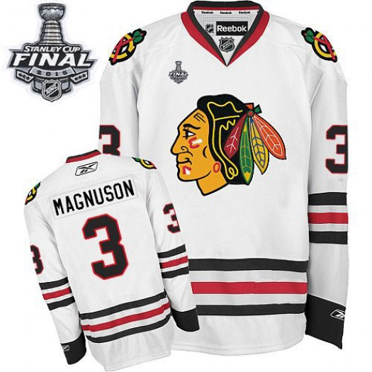 Keith Magnuson Chicago Blackhawks Men's Reebok Authentic White Away 2015 Stanley Cup Patch Jersey