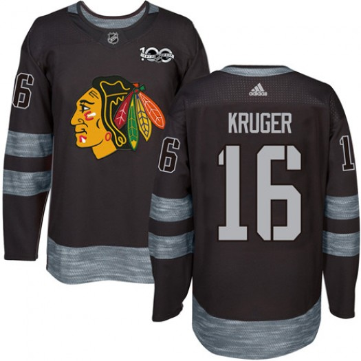 Marcus Kruger Chicago Blackhawks Men's Adidas Authentic Black 1917-2017 100th Anniversary Jersey