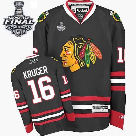 Marcus Kruger Chicago Blackhawks Men's Reebok Authentic Black Third 2015 Stanley Cup Patch Jersey