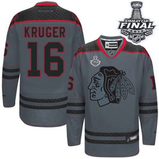 Marcus Kruger Chicago Blackhawks Men's Reebok Authentic Charcoal Cross Check Fashion 2015 Stanley Cup Patch Jersey