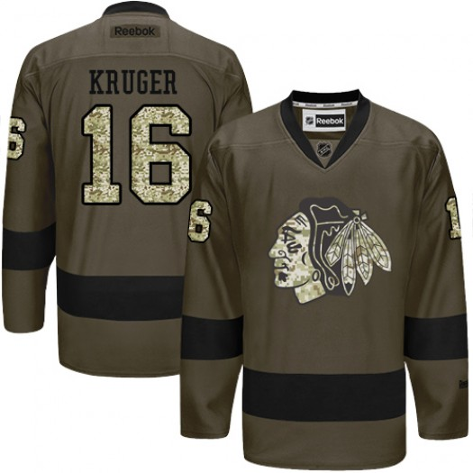 Marcus Kruger Chicago Blackhawks Men's Reebok Authentic Green Salute to Service Jersey