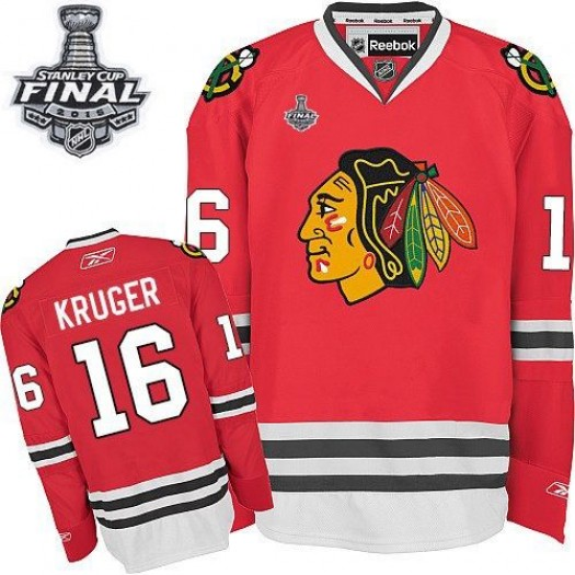 Marcus Kruger Chicago Blackhawks Men's Reebok Authentic Red Home 2015 Stanley Cup Patch Jersey