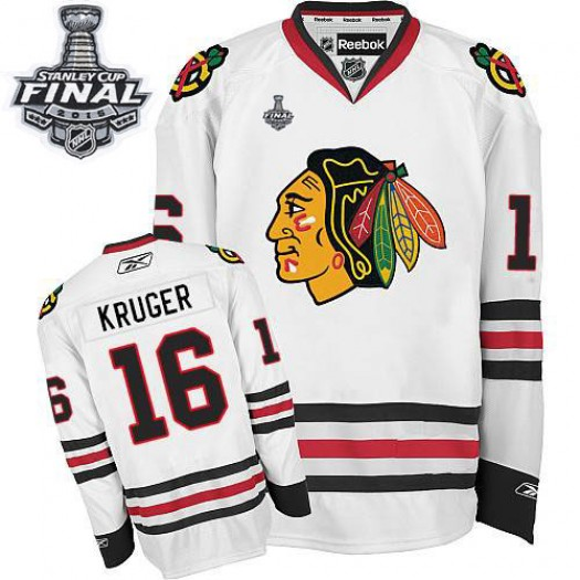 Marcus Kruger Chicago Blackhawks Men's Reebok Authentic White Away 2015 Stanley Cup Patch Jersey