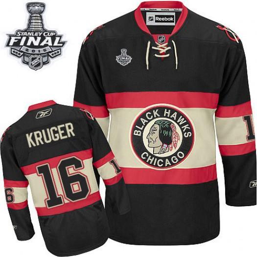 Marcus Kruger Chicago Blackhawks Men's Reebok Premier Black New Third 2015 Stanley Cup Patch Jersey