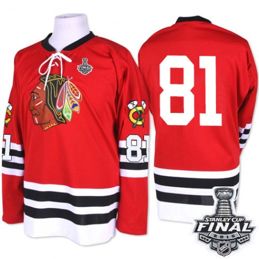 Marian Hossa Chicago Blackhawks Men's Mitchell and Ness Premier Red 1960-61 Throwback 2015 Stanley Cup Patch Jersey
