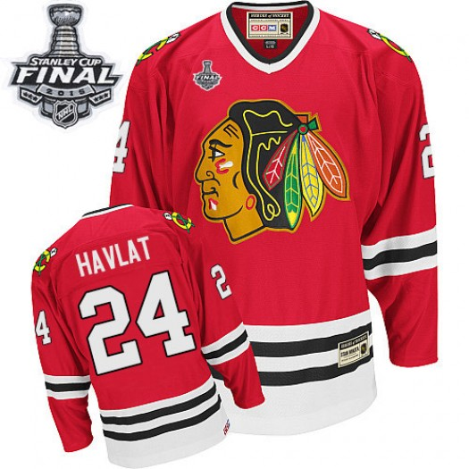 Martin Havlat Chicago Blackhawks Men's CCM Authentic Red Throwback 2015 Stanley Cup Patch Jersey