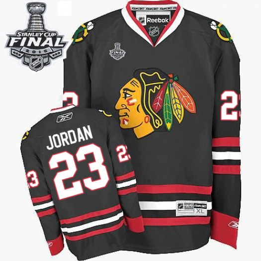 Michael Jordan Chicago Blackhawks Men's Reebok Authentic Black Third 2015 Stanley Cup Patch Jersey