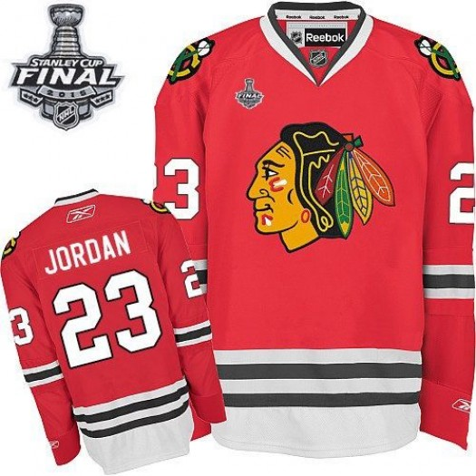 Michael Jordan Chicago Blackhawks Men's Reebok Authentic Red Home 2015 Stanley Cup Patch Jersey