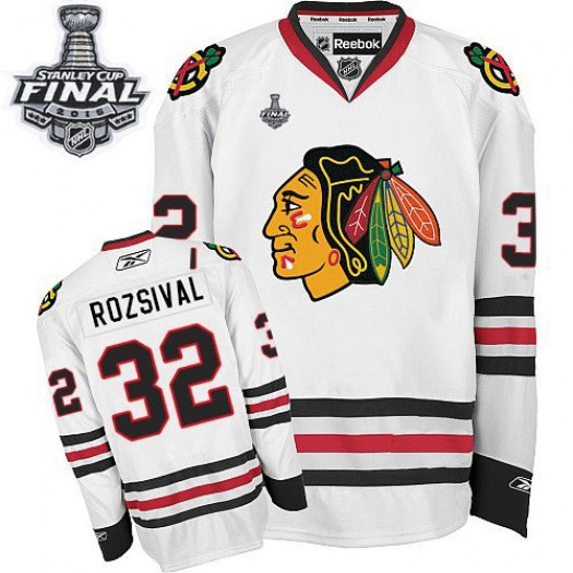 Michal Rozsival Chicago Blackhawks Men's Reebok Authentic White Away 2015 Stanley Cup Patch Jersey