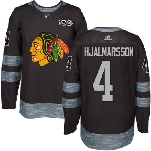 Niklas Hjalmarsson Chicago Blackhawks Men's Adidas Authentic Black 1917-2017 100th Anniversary Jersey
