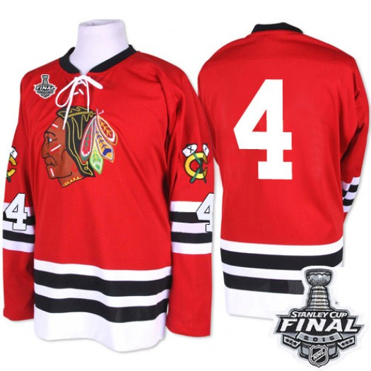 Niklas Hjalmarsson Chicago Blackhawks Men's Mitchell and Ness Premier Red 1960-61 Throwback 2015 Stanley Cup Patch Jersey