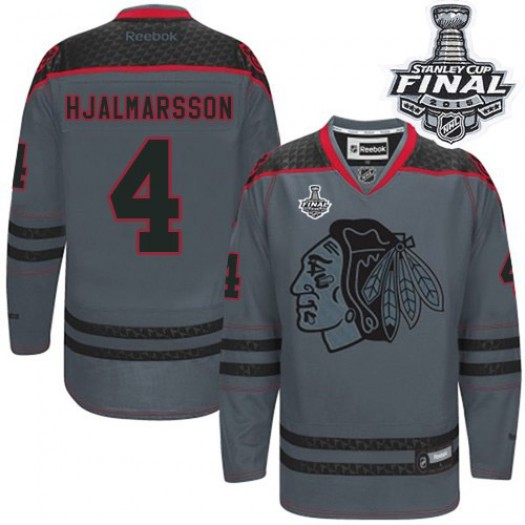 Niklas Hjalmarsson Chicago Blackhawks Men's Reebok Authentic Charcoal Cross Check Fashion 2015 Stanley Cup Patch Jersey
