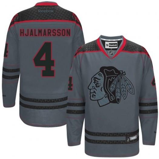 Niklas Hjalmarsson Chicago Blackhawks Men's Reebok Authentic Charcoal Cross Check Fashion Jersey