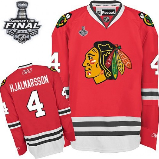 Niklas Hjalmarsson Chicago Blackhawks Men's Reebok Authentic Red Home 2015 Stanley Cup Patch Jersey