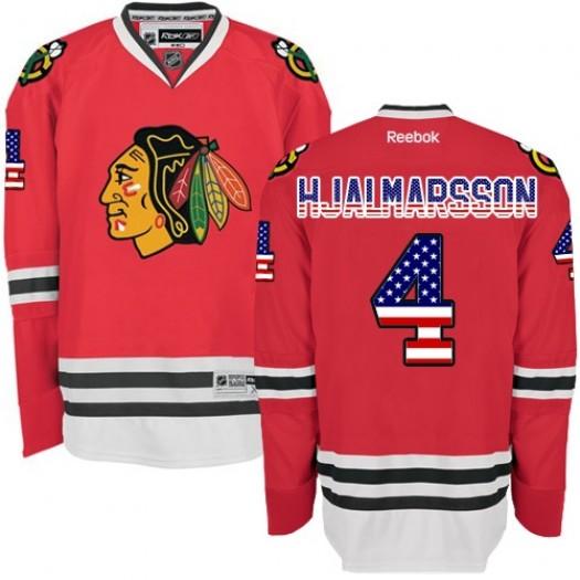 Niklas Hjalmarsson Chicago Blackhawks Men's Reebok Authentic Red USA Flag Fashion Jersey