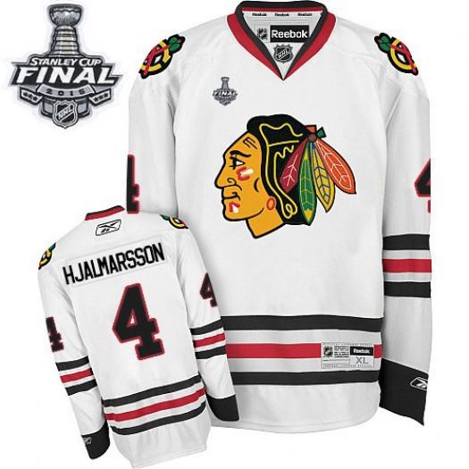 Niklas Hjalmarsson Chicago Blackhawks Men's Reebok Authentic White Away 2015 Stanley Cup Patch Jersey