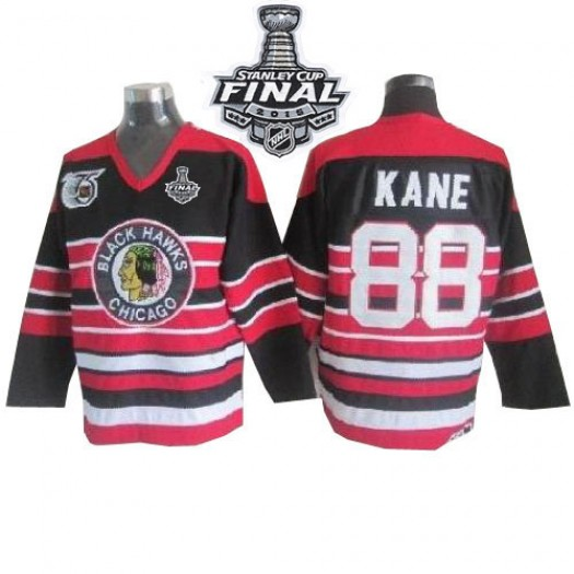 Patrick Kane Chicago Blackhawks Men's CCM Authentic Red/Black 75TH Patch Throwback 2015 Stanley Cup Patch Jersey