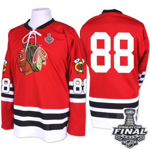 Patrick Kane Chicago Blackhawks Men's Mitchell and Ness Premier Red 1960-61 Throwback 2015 Stanley Cup Patch Jersey