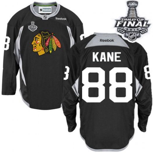 Patrick Kane Chicago Blackhawks Men's Reebok Authentic Black Practice 2015 Stanley Cup Patch Jersey