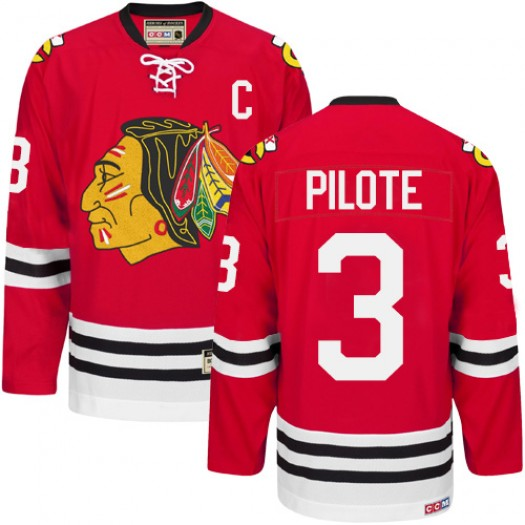 Pierre Pilote Chicago Blackhawks Men's CCM Authentic Red New Throwback Jersey