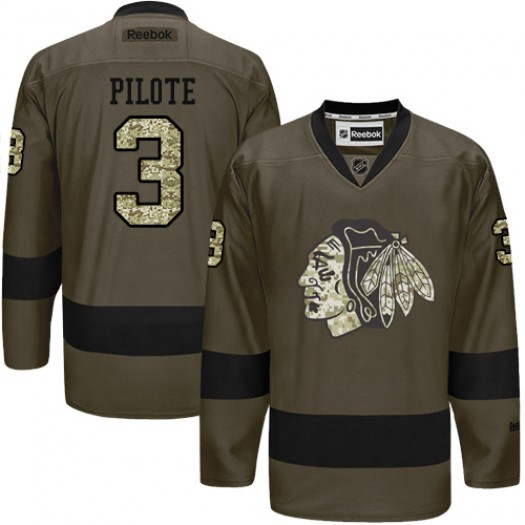 Pierre Pilote Chicago Blackhawks Men's Reebok Authentic Green Salute to Service Jersey