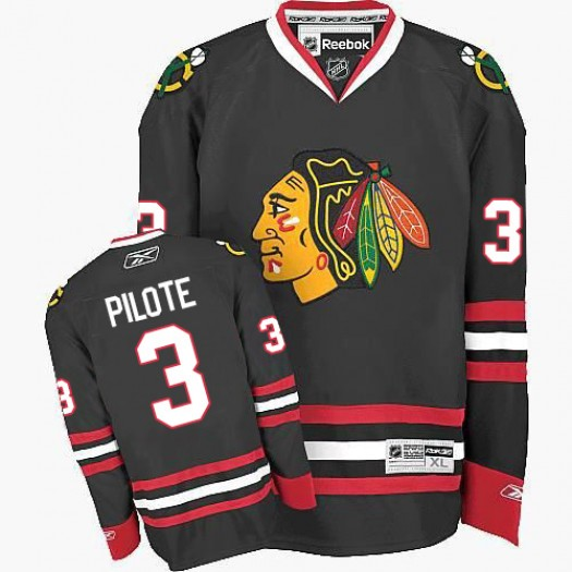 Pierre Pilote Chicago Blackhawks Men's Reebok Premier Black Third Jersey