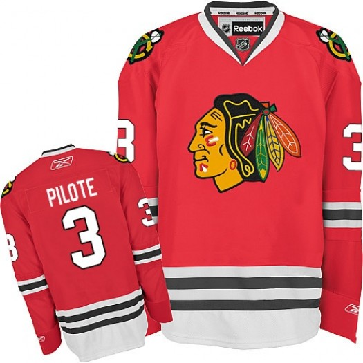 Pierre Pilote Chicago Blackhawks Men's Reebok Premier Red Home Jersey