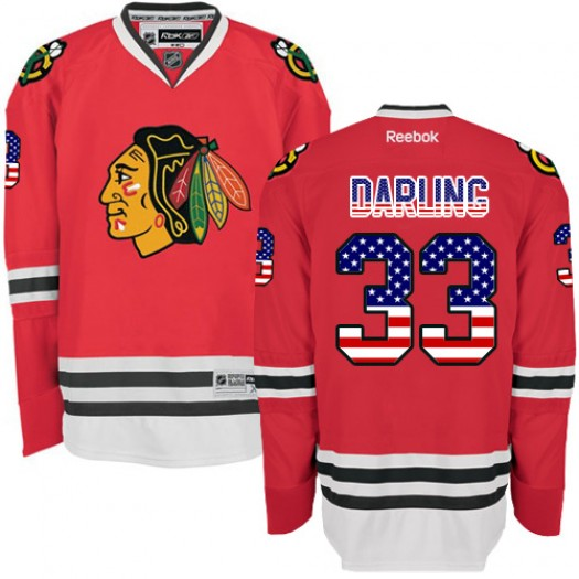 Scott Darling Chicago Blackhawks Men's Reebok Authentic Red USA Flag Fashion Jersey