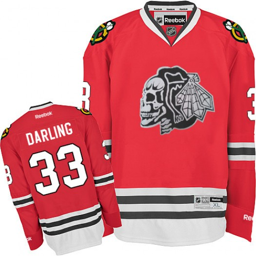 Scott Darling Chicago Blackhawks Men's Reebok Authentic White Red Skull Jersey