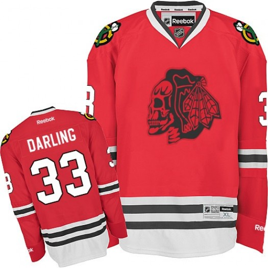 Scott Darling Chicago Blackhawks Men's Reebok Premier Red Skull Jersey