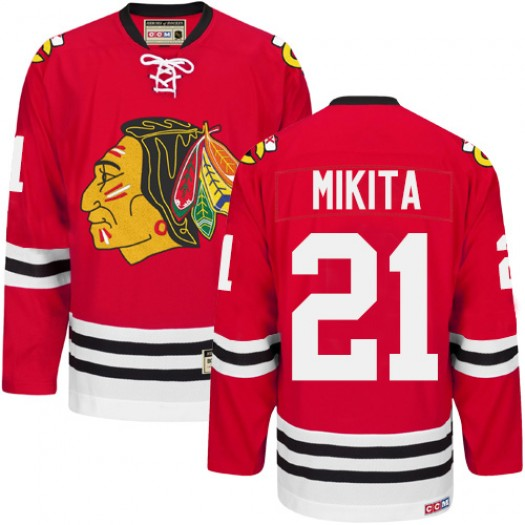 Stan Mikita Chicago Blackhawks Men's CCM Authentic Red New Throwback Jersey