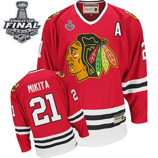 Stan Mikita Chicago Blackhawks Men's CCM Authentic Red Throwback 2015 Stanley Cup Patch Jersey