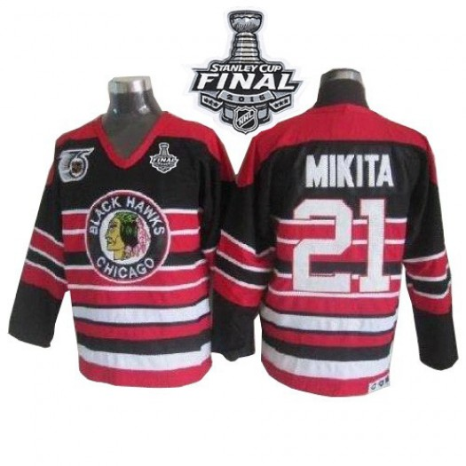 Stan Mikita Chicago Blackhawks Men's CCM Premier Red/Black 75TH Patch Throwback 2015 Stanley Cup Patch Jersey