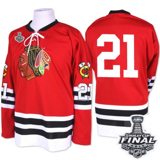 Stan Mikita Chicago Blackhawks Men's Mitchell and Ness Premier Red 1960-61 Throwback 2015 Stanley Cup Patch Jersey